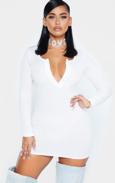 Shape White Ribbed Button Front Long Sleeve Bodycon Dress