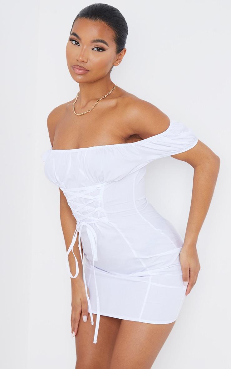 White Woven Bardot Lace Up Detail Bodycon Dress 1