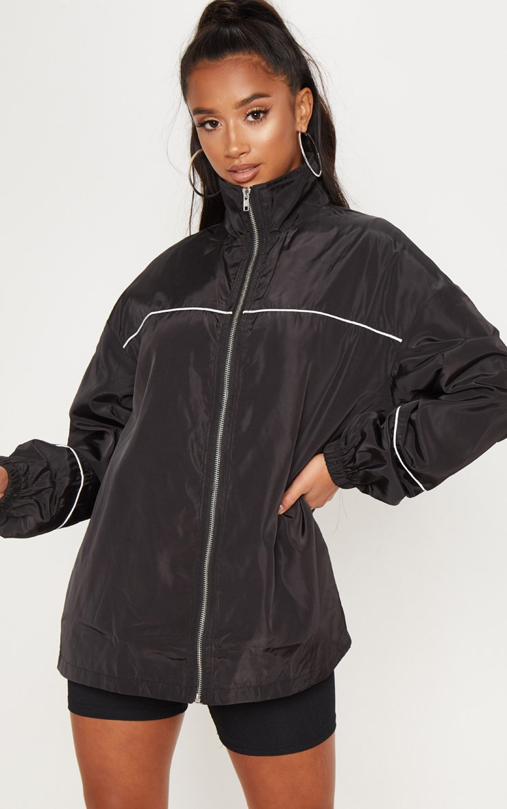 Petite Black Hooded Rain Coat  1