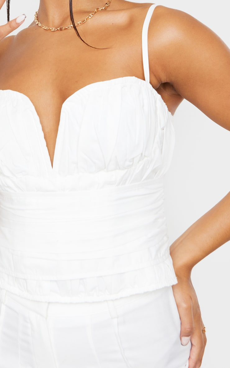White Woven Pleated Structured Waist Corset 4