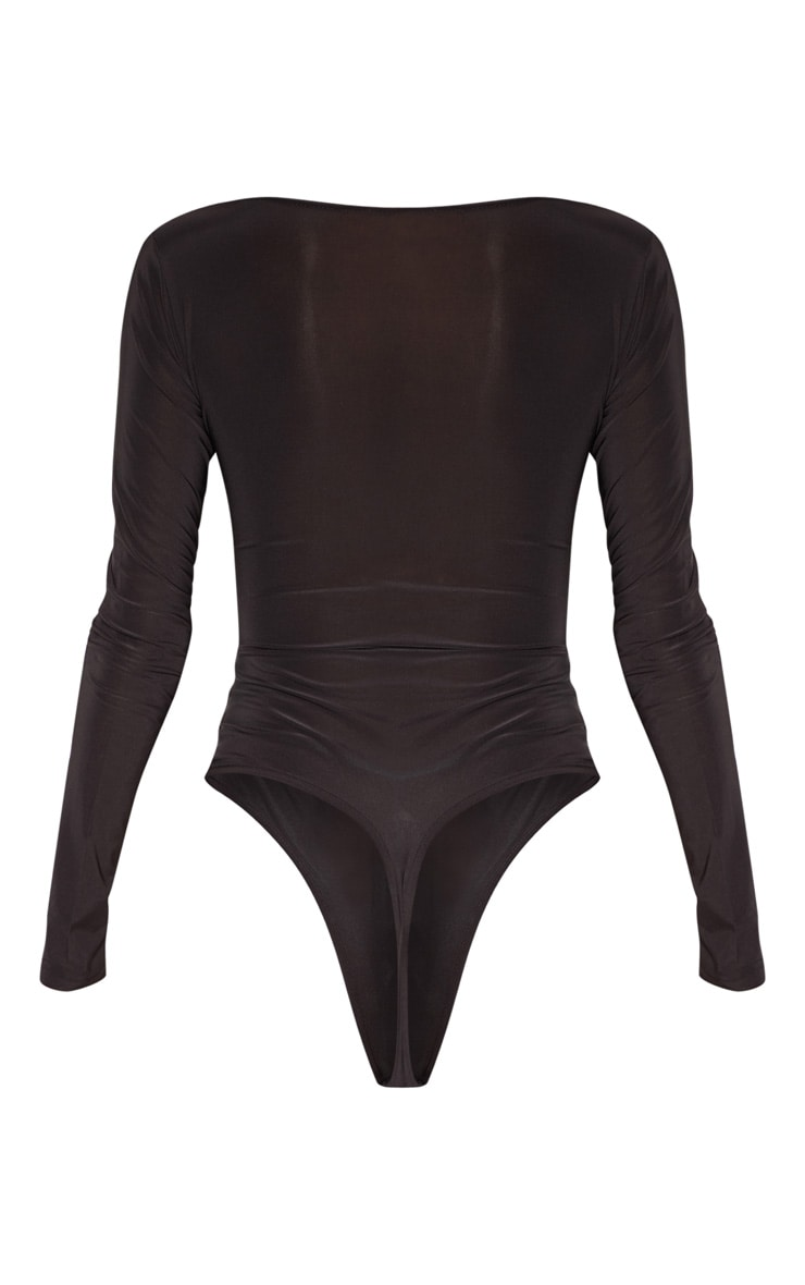 Tall Black Slinky Plunge Bodysuit 4