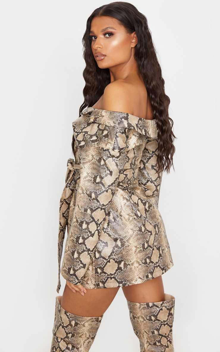 Taupe PU Snake Bardot Blazer Dress 2