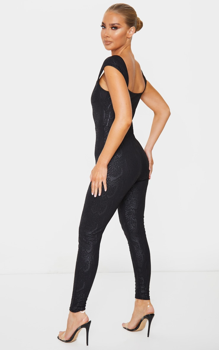 Black Textured Snake V Bar Jumpsuit 3