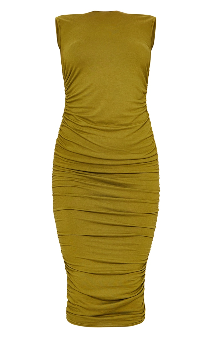 Olive Sleeveless Crew Neck Ruched Side Midi Dress 5