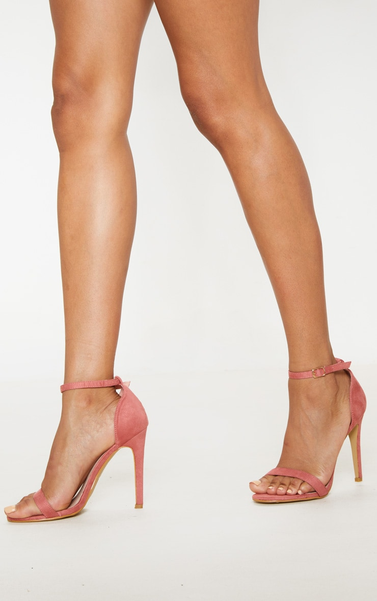Clover Rose Pink Suede Strap Heeled Sandals 2