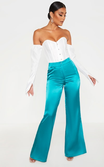 Teal Satin Flared Trouser