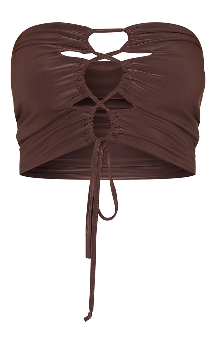 Chocolate Slinky Lace Up Ruched Bandeau Crop Top 5