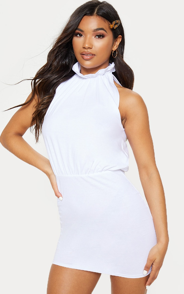 White Sleeveless High Neck Bodycon Dress 1