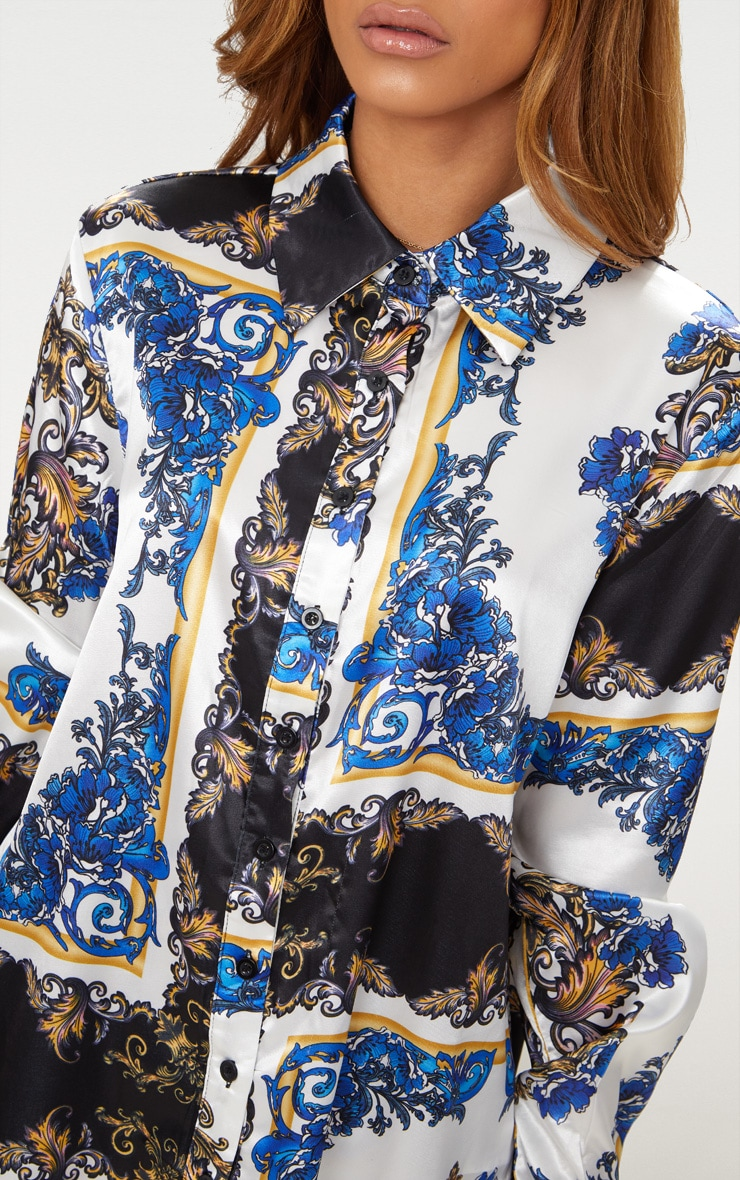 Petite Blue Satin Chain Print Shirt 4