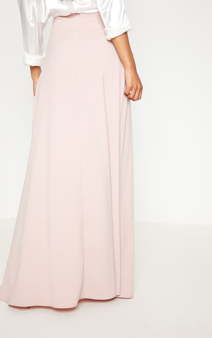 Blush Satin Button Front Maxi Skirt 4