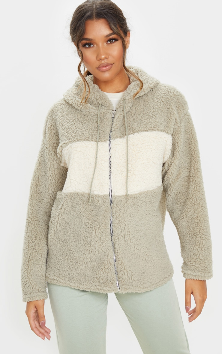 Sage Borg Contrast Hooded Oversized Zip Up Jacket 1