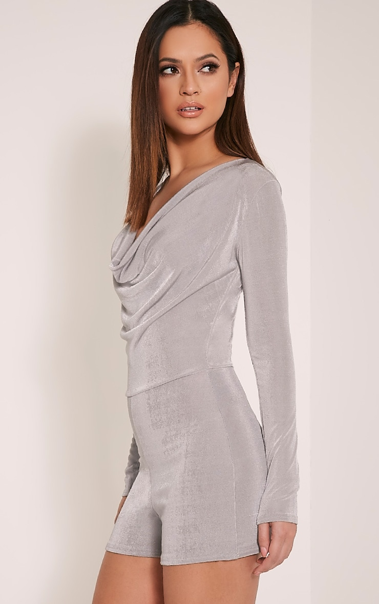 Veronia Silver Long Sleeved Cowl Neck Playsuit 5