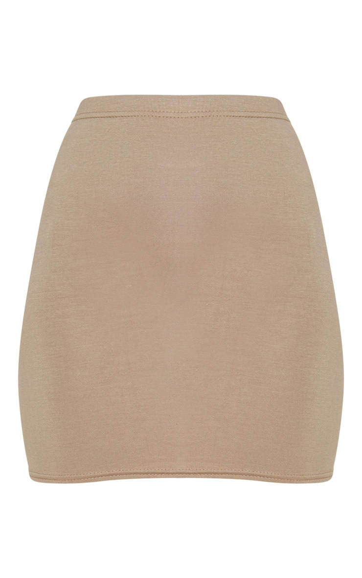 Basic Taupe Jersey Mini Skirt 3
