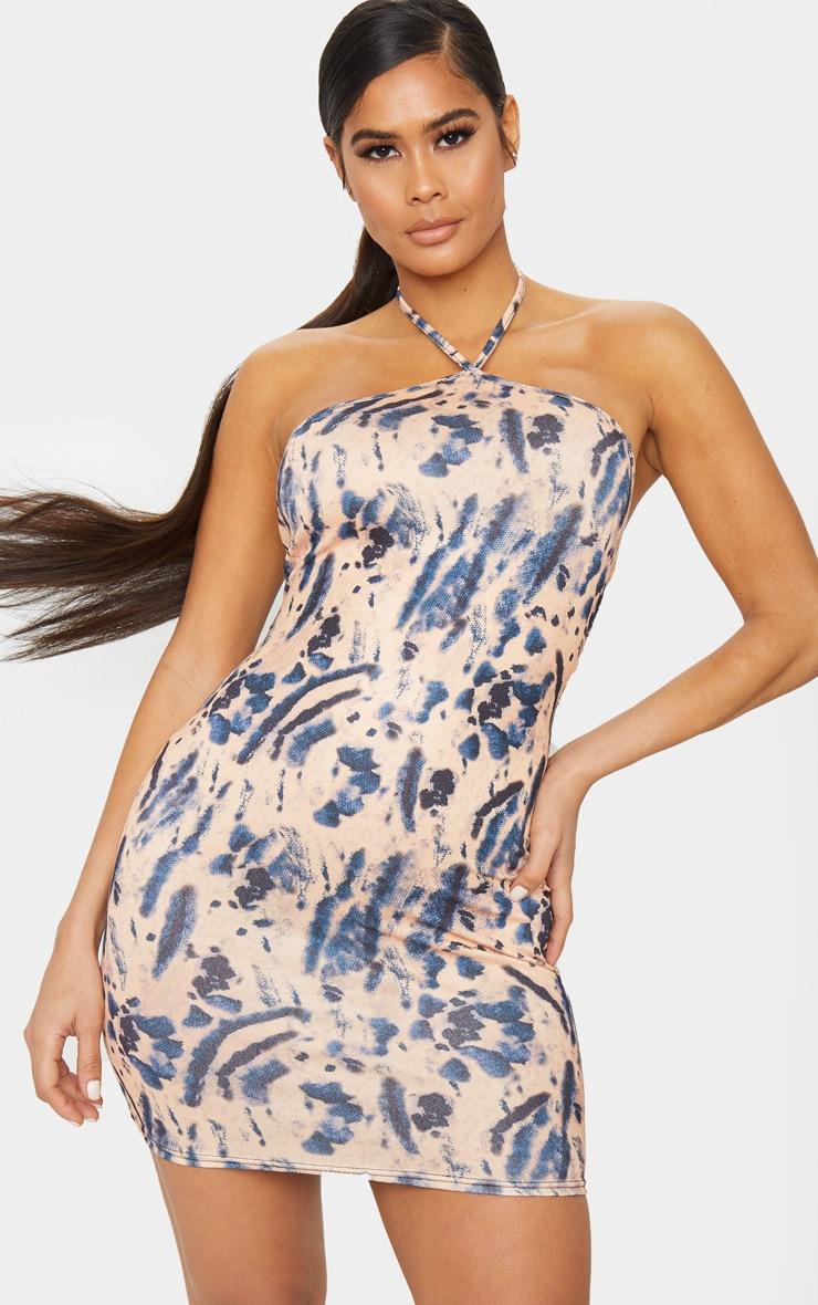 Multi Tie Dye Halterneck Bodycon Dress 1