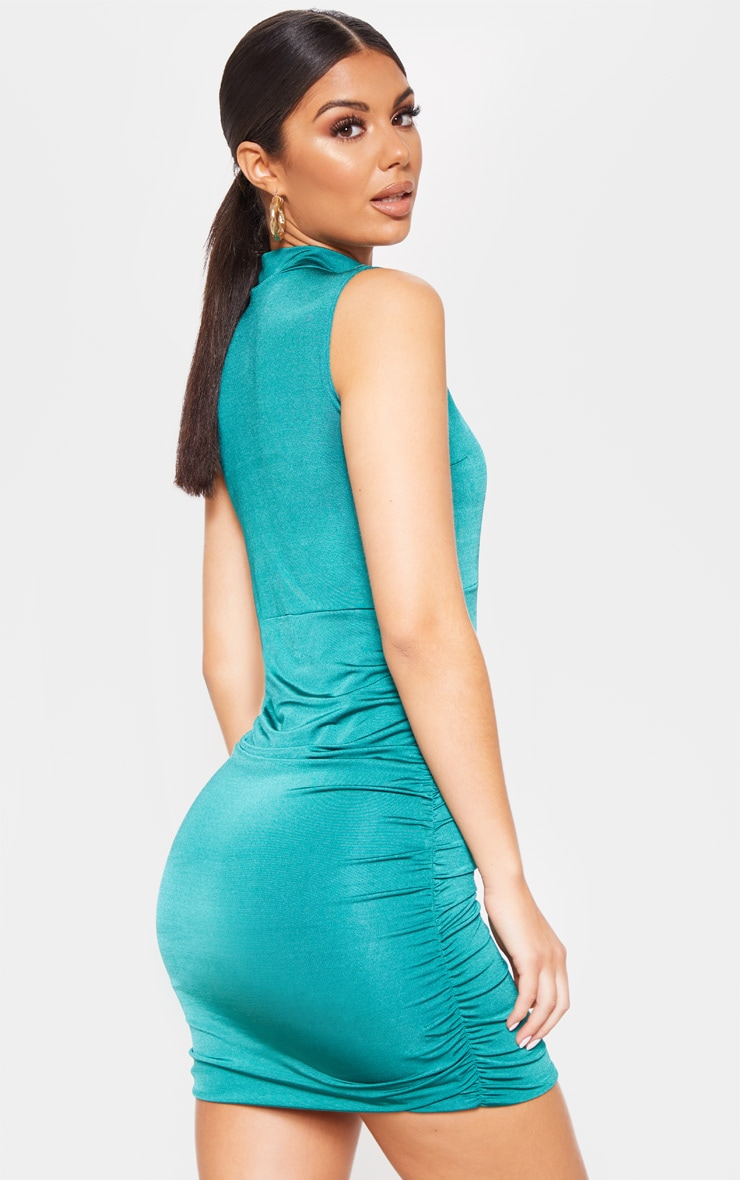 Jade Green Metallic Slinky Ruched Cut Out Bodycon Dress 2