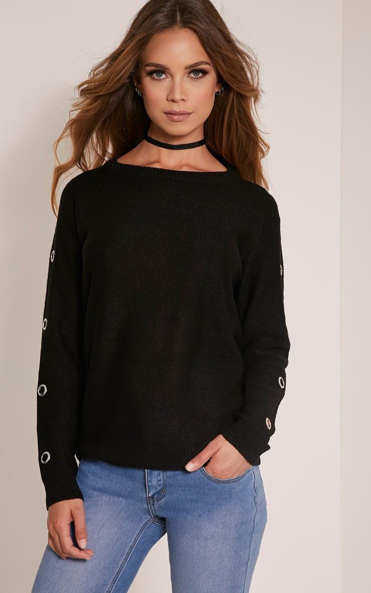 Tillie pull tricoté à manches à œillets noir 1