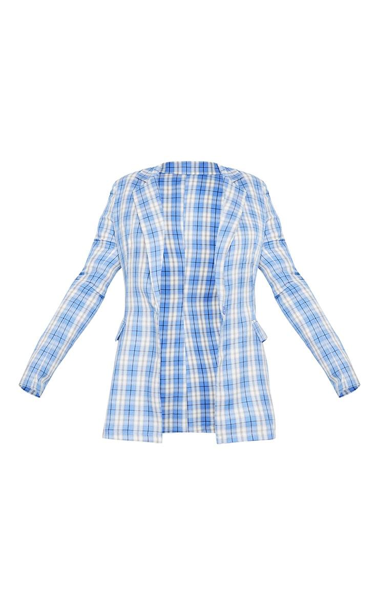 Light Blue Check Print Pinched Waist Blazer 5