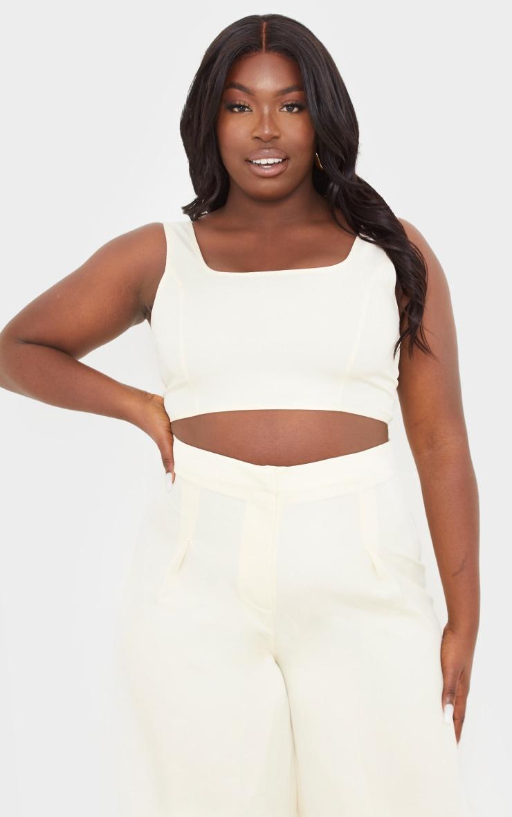 PLT Plus - Crop top en maille tissée crème à détail coutures  1