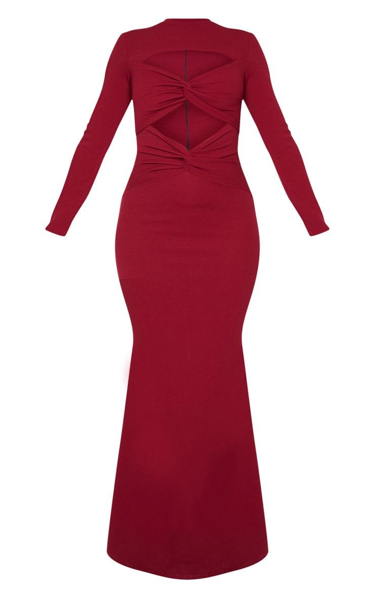 Burgundy Twist Front Long Sleeve Maxi Dress 3