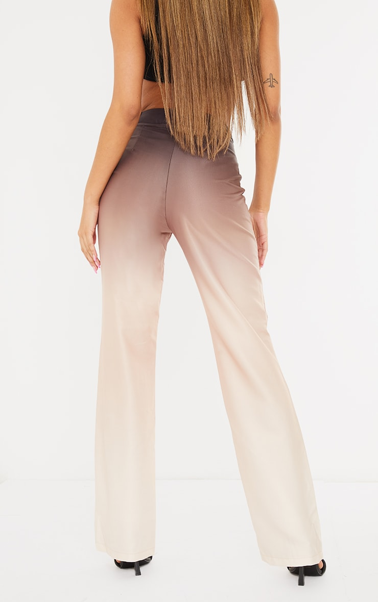 Taupe Ombre Woven Straight Leg Tailored Pants 3