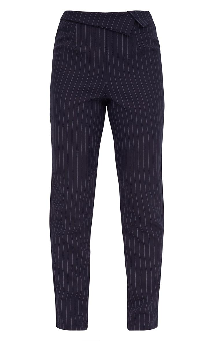 Navy Pinstripe Collar Waist Trousers 3