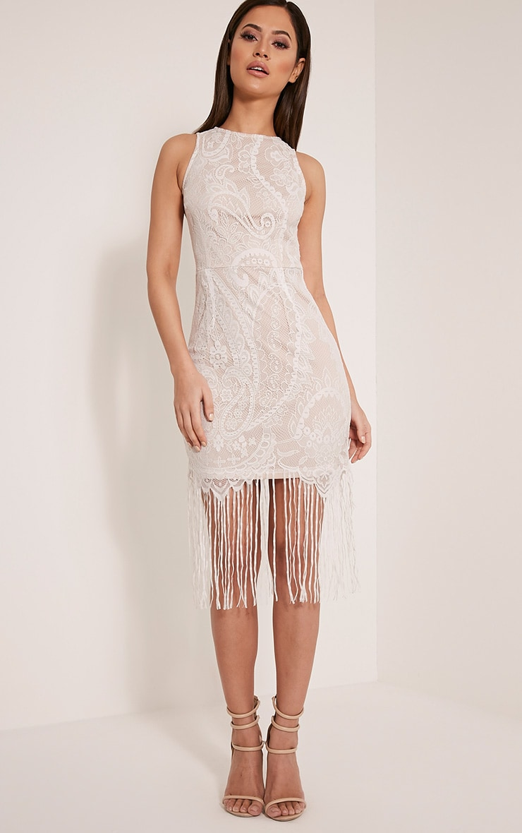 Aleesha White Open Back Lace Tassel Bodycon Dress 1