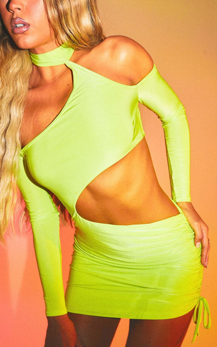 Lime Slinky Choker Neck Detail Ruched Cut Out Bodycon Dress 4
