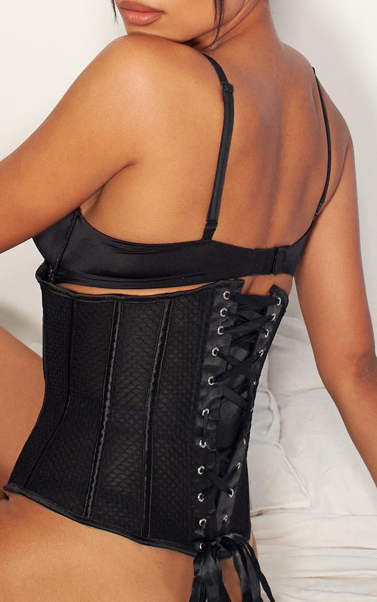 Black Textured Mesh Underbust Corset And Thong Set 4