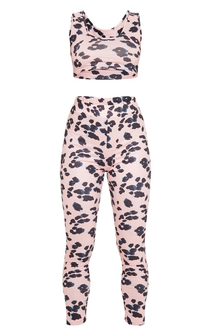 Pink Leopard Print Bralet And Legging Pj Set  3