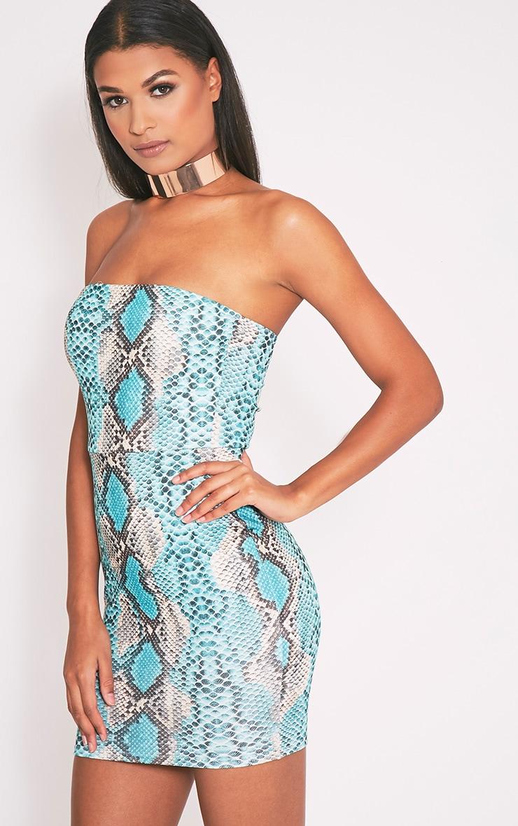 Kaddy robe bandeau moulante peau de serpent turquoise 6