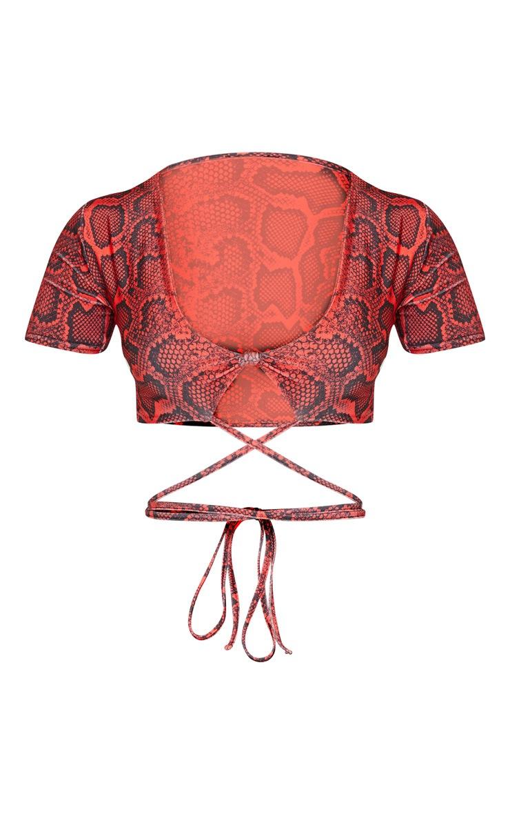 Red Snake Print Wrap Around Knot Front Bikini Top 6