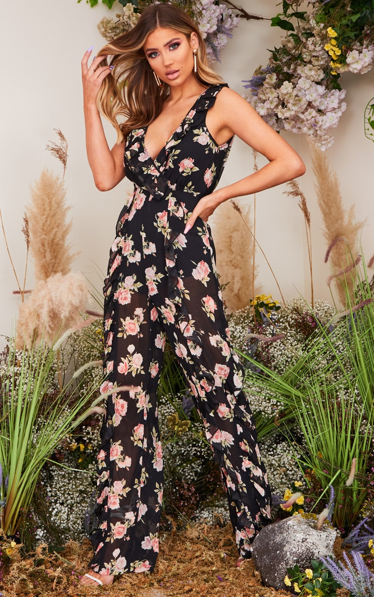 Black Rose Print Frill Detail Sleeveless Jumpsuit