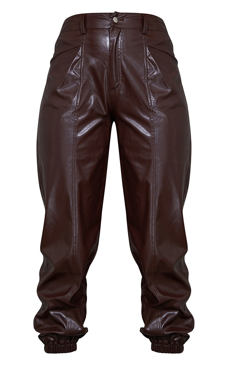 Chocolate Faux Leather Seam Detail Cuffed Pants 5
