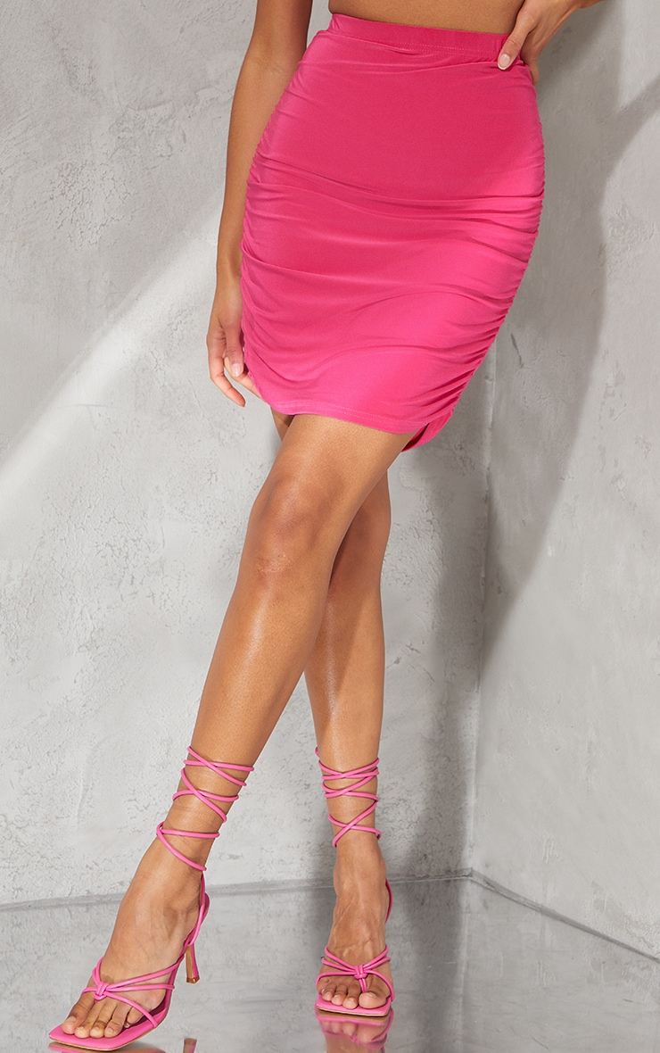 Hot Pink Slinky Ruched Side Mini Skirt 2