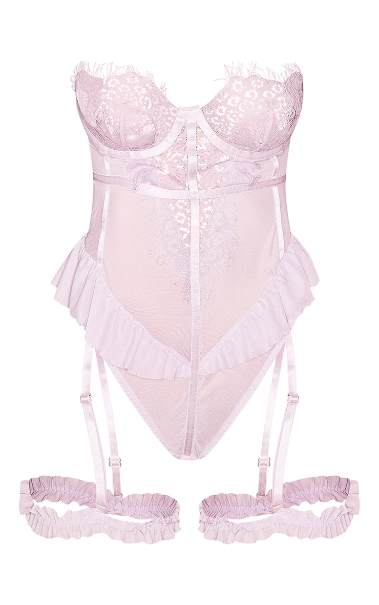 Lilac Eyelash Lace Strapless Body With Suspender Straps 5