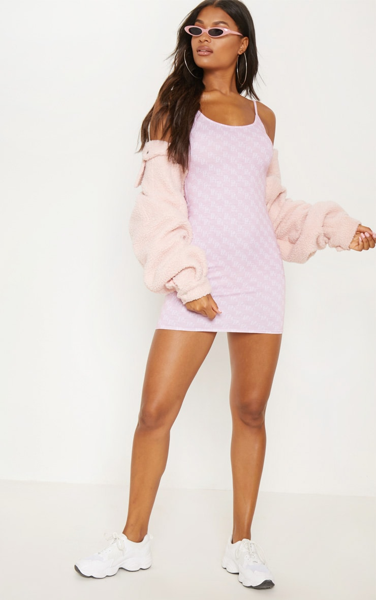 PRETTYLITTLETHING Pastel Pink Printed Bodycon Dress 4