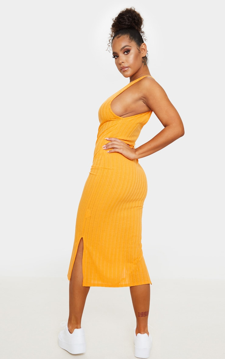 Orange Knitted Rib Scoop Detail Split Midi Dress 2