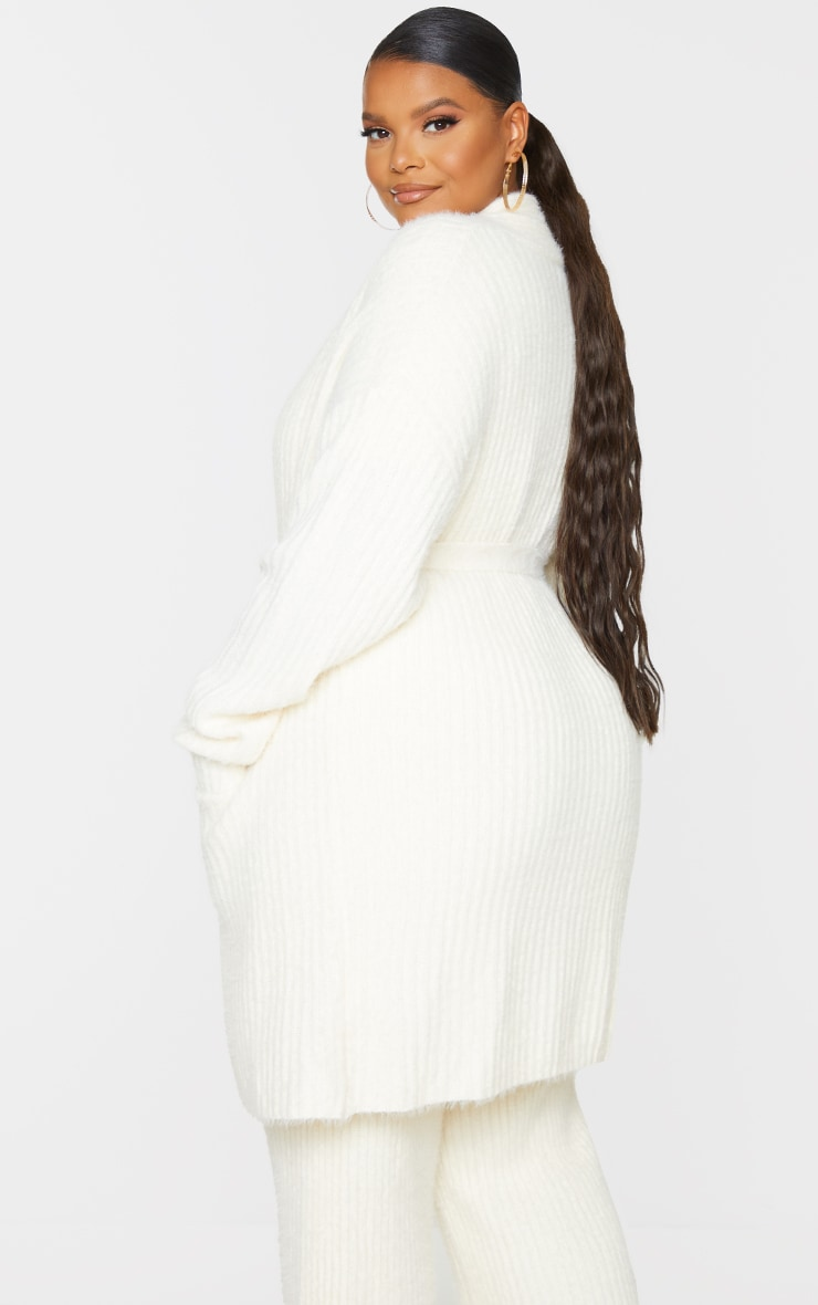 Plus Cream Ribbed Eyelash Knit Belted Cardigan 2