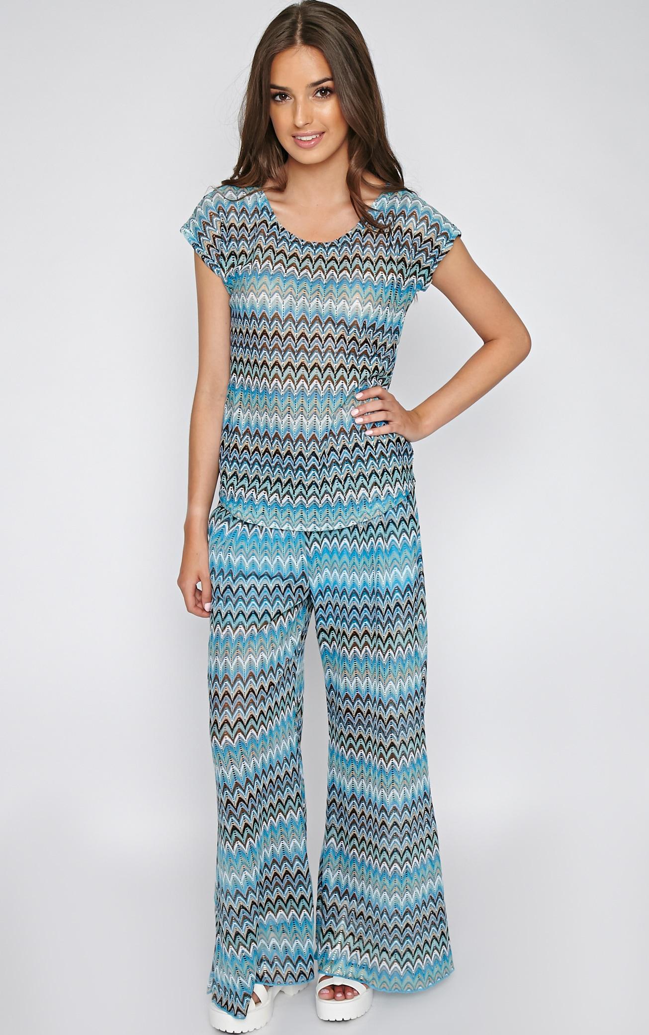 Machiko Blue Zig Zag Trouser 4