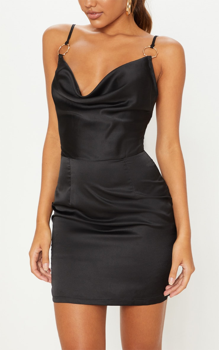 Black Satin Cowl Neck Ring Detail  Bodycon Dress 5