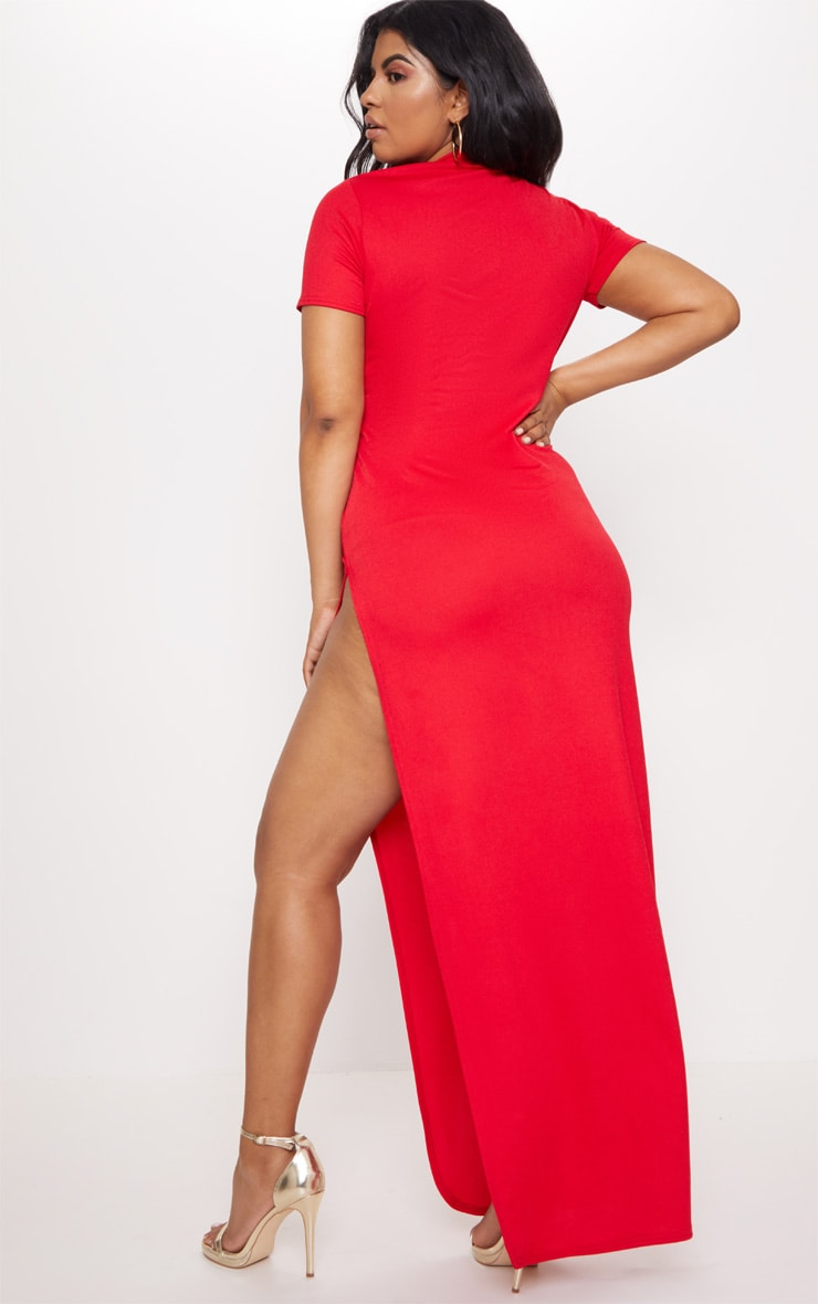 Plus Red Oriental Cut Out Detail Maxi Dress 2
