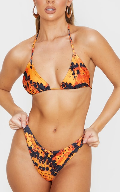 Orange Feather High Brazilian Bikini Bottom