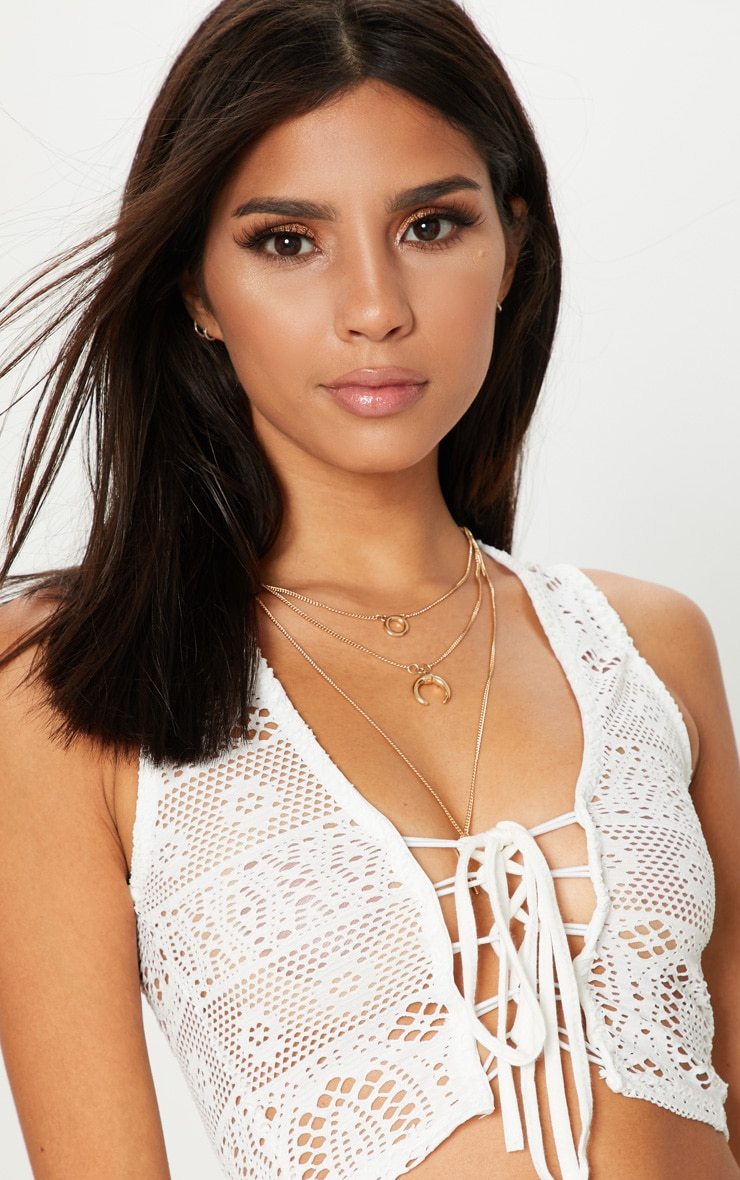 White Crochet Lace Up Crop Top  5