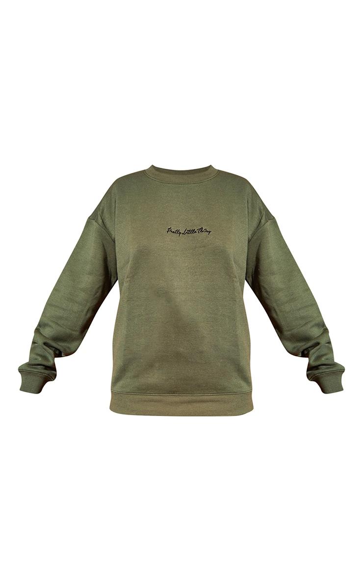 PRETTYLITTLETHING Khaki Embroidered Oversized Sweatshirt 5