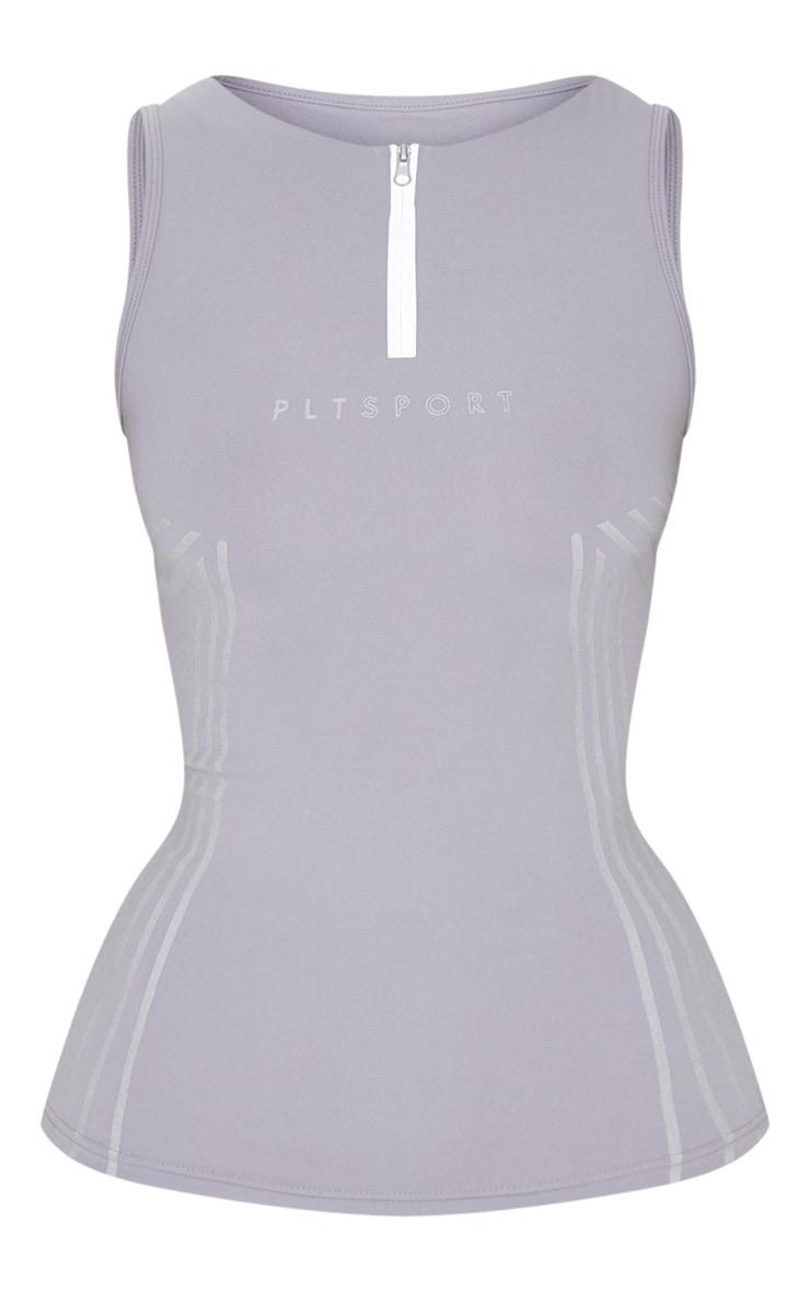 PRETTYLITTLETHING Grey Sport Line Detail Zip Up Gym Vest 5