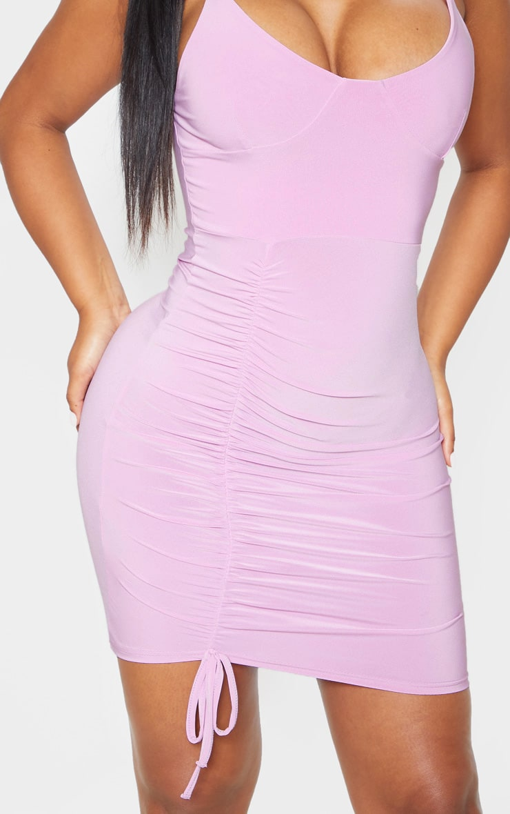 Lilac Slinky Strappy Cup Detail Ruched Bodycon Dress 5