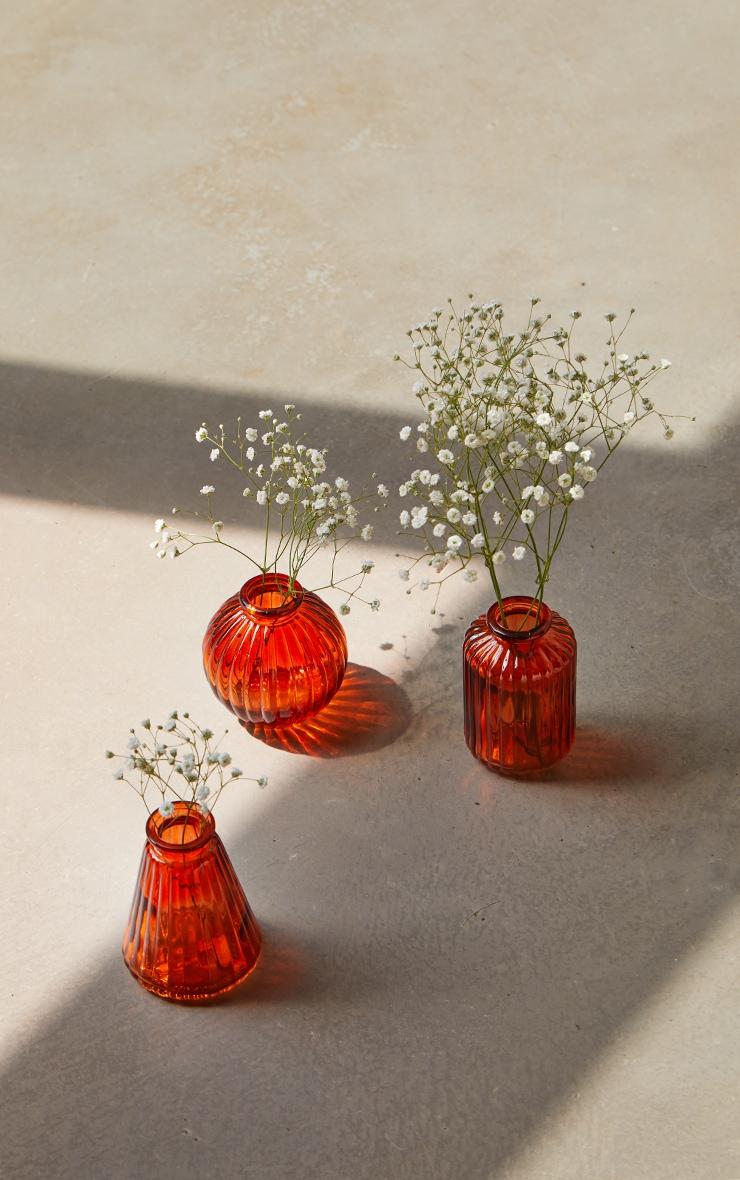 Amber Glass Bud Vases - Set of 3 1