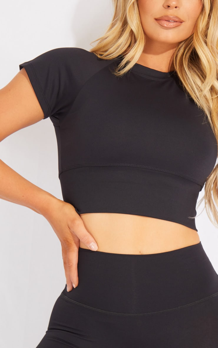 Black Brushed Luxe Cropped Sports Tshirt 4