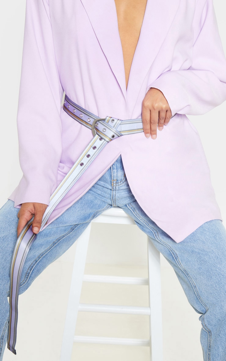 Lilac Striped Buckle Tape Belt 1