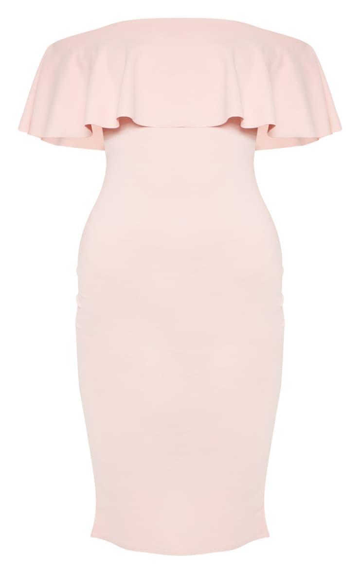 Celinea Blush Bardot Frill Midi Dress 4